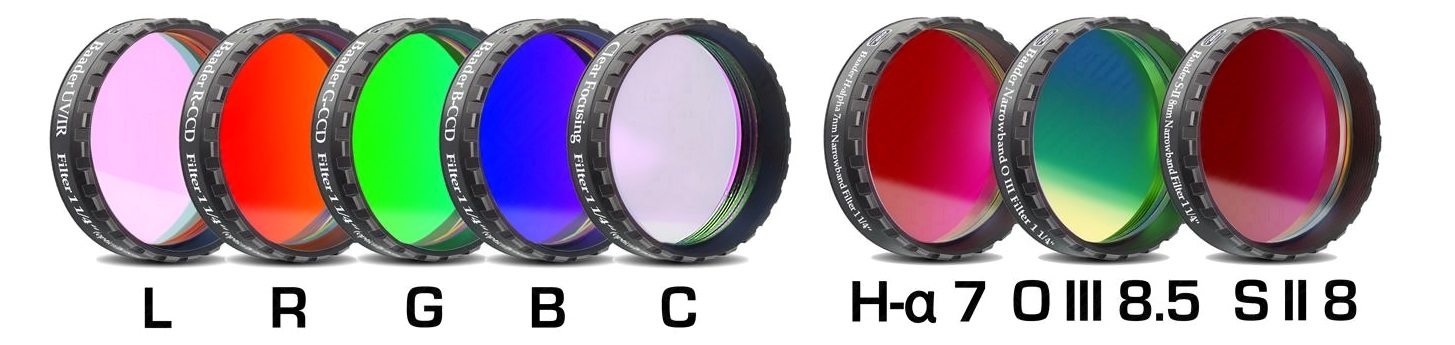 Jeu complet de 8 filtres Baader CCD filetage 31,75 mm LRGBC/H-alpha 7 nm OIII 8,5 nm / SII 8 nm