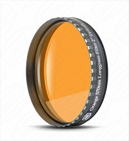 Filtre Baader orange, plan parallèle, bande passante 570 nm,  filetage 50,80mm (M48)
