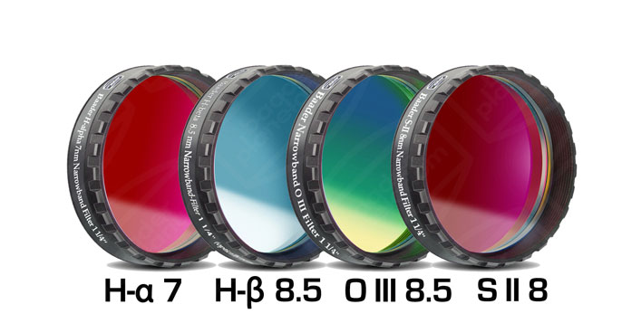 Lot de 4 filtres Baader CCD/CMOS H-alpha 7nm,H-béta,OIII,SII - filetage 31,75mm