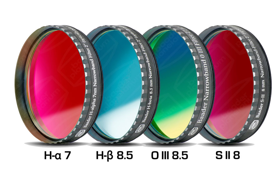 Lot de 4  filtres Baader CCD/CMOS Full Frame: H-alpha 7nm, H-béta, O III, S II, filetage 50,80mm