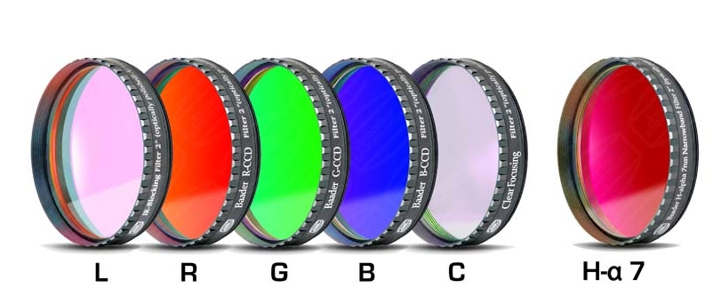 Lot de 6 filtres Baader CCD/CMOS L-RVB-C/H-alpha 7nm filetage 50,80mm (M48) ép. 2mm (LPFC)