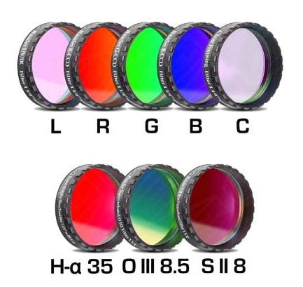 Lot de 8 filtres Baader CCD/CMOS L-RVB-C/H-alpha 35nm/OIII 8.5nm/SII 8nm filetage 31,75mm