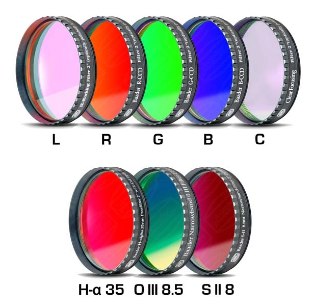 Lot de 8 filtres Baader CCD/CMOS L-RVB-C/H-alpha 35nm/OIII 8.5nm/SII 8nm filetage 50,80mm
