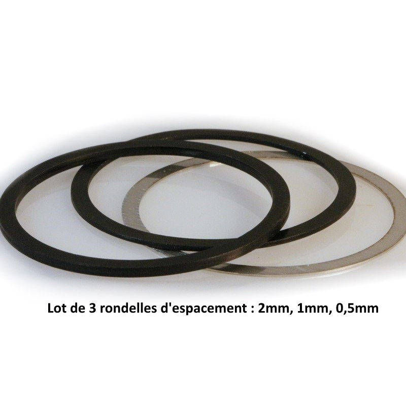 Lot de rondelles 2mm + 1mm + 0,5mm pour filetage M48