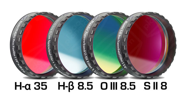 Lot de 4 filtres Baader CCD/CMOS H-alpha 35nm, H-béta, OIII, SII filetage 31,75mm